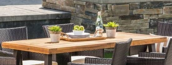 Tustin Outdoor Acacia Wicker Dining Table only Christopher Knight Home  Retail