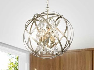 Benita Brushed Champagne Metal and Crystal Orb 5 light Chandelier  Retail 194 99