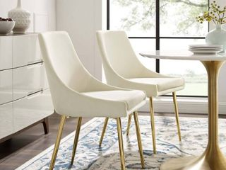 Gold Ivory  Silver Orchid Aizome Dining Chairs  Set of 2