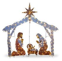 Nativity Scene with Clear lights