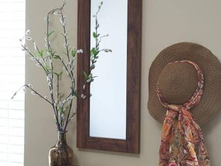 Household Essentials Wall Mirror in Hickory   Brown