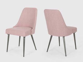 light Blush   Gun Metal Alnoor Modern Armless Fabric Dining Chairs  Set of 2  by Christopher Knight Home