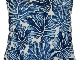 Navy Blue   18x18  Palm leaves  Floral Print Outdoor Pillow