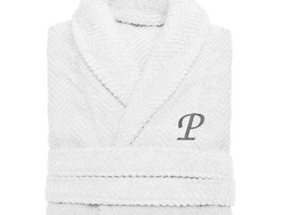 large Xl  P  Authentic Hotel and Spa White with Grey Monogrammed Herringbone Weave Turkish Cotton Unisex Bath Robe Retail 102 49