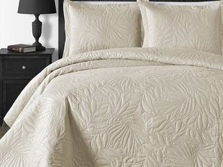 King Cal King Beige  Comfy Bedding Foliage Thermal Pressing 3 piece Oversized Coverlet Set  Retail 77 48