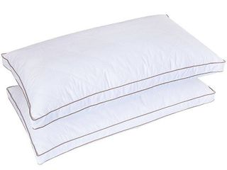 Standard Medium Firm 2 inch Gusset Down and Feather Pillows  Set of 2  White Retail  84 98