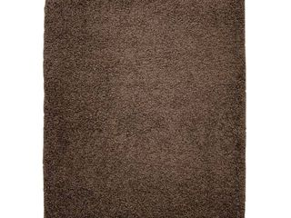 Brown  Moon Solid Shag Modern Plush Brown Door Mat 2 ft  by 3 ft