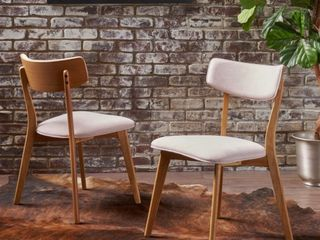 Chazz Mid century Dining Chairs by Christopher Knight  Set of 2