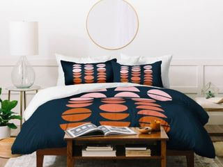 King  Deny Designs Circles and Moons 3 Piece Duvet Cover Set  Retail 184 99