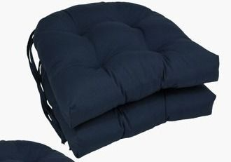 Navy  Blazing Needles 16 inch U Shaped Dining Chair Cushions  Set of 2
