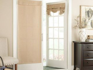 Eclipse Blackout Panel Pair Bryson Thermaweave Door Curtain  Beig Green  26X68