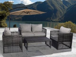 Edenfield 4 PC Wicker All Weather Conversation Patio Sofa Set with Cushions  Retail 653 49