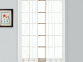 United Curtain Batiste Semi Sheer Window Curtain Panel Pair  54 by 45 Inch  White
