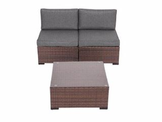 Kinsunny Patio Furniture Set Outdoor Sectional Sofa  Cushioned Rattan Wicker Conversation Set  Melange Black Retail  829 99