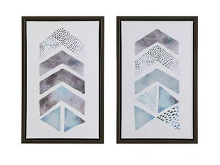 Urban Habitat This and That Way Blue  Grey Framed Gel Coat Canvas   Set Of 2