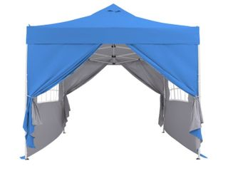 Blue Zenova 10x10 Pop Up Canopy Tent Instant Folding Shelter With 4 Sidewalls Retail 208 49