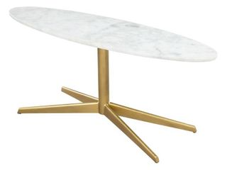 Steel White Gold Parker Coffee Marble Table White  amp  Gold Top  Retail  288 99
