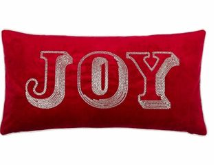 Accent Polyester Homey Cozy Christmas JOY Throw Pillow Cover  amp  Insert