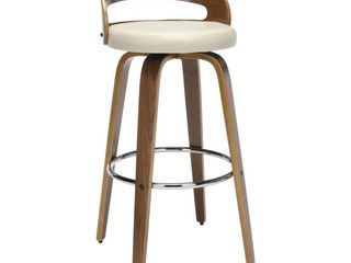 OFM 161 Collection Mid Century Modern low Back Bentwood Frame Swivel Seat Stool with Vinyl Back and Seat Cushion  Retail 126 99