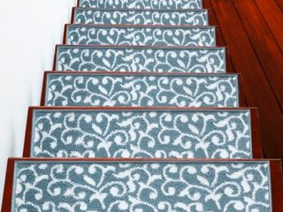 4 PACK Teal White SUSSEXHOME leaves Collection Polypropylene Stair Treads