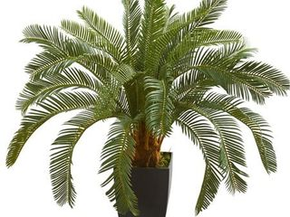 Nearly Natural 30 inch Cycas Artificial Plant in Black Vase