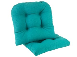 Teal  Gripper Non Slip 17 x 17 Omega Tufted Chair Cushions  Set of 2