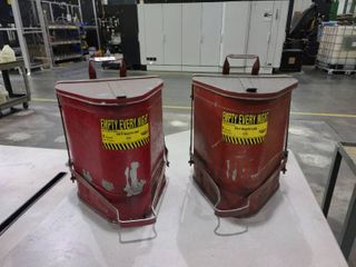 lot of 2 6 Gallon Triangular Oily Waste Cans