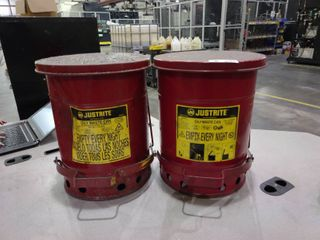 lot of 2 6 Gallon Round Oily Waste Cans