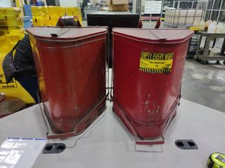 lot of 2 14 Gallon Triangular Oily Waste Cans