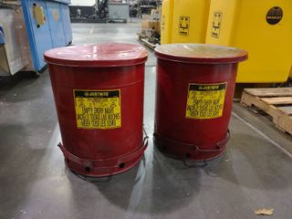 lot of 2 14 Gallon Round Oily Waste Cans