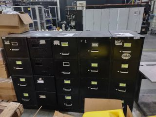 lot of 5 4 Drawer Metal Filing Cabinets