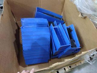 Partial large Box of Blue Plastic Parts Organizers