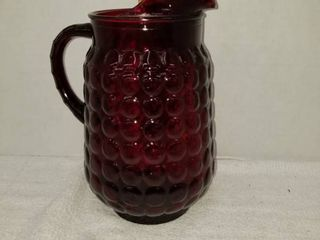 Ruby Red Hobnail Pitcher