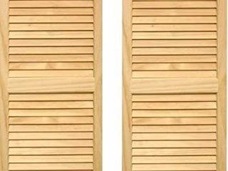 Exterior Solid Wood louvered Window Shutters  Unfinished