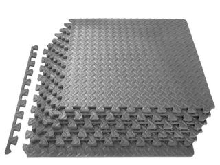ProSource Puzzle Exercise Mat High Quality EVA Foam Interlocking Tiles  24 Square Feet  Grey  Includes 6 tiles