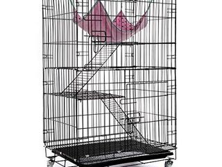 AVEEN 3 Tier Small Cat Cage Playpen Box Kennel Crate with 2 Front Doors   Free Hammock   40 x 24 x 17 Inchesi1 4Blacki1 4