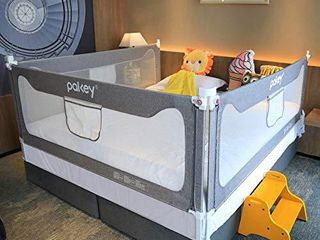 Goldenvalueable Bed Rail Guard 3 Set Vertical Collapsible for Baby Toddlers and Kids  Grey  King