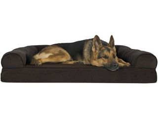FurHaven Pet Dog Bed Orthopedic Faux Fleece   Chenille Sofa Style Couch Pet Bed for Dogs   Cats  Coffee  Jumbo