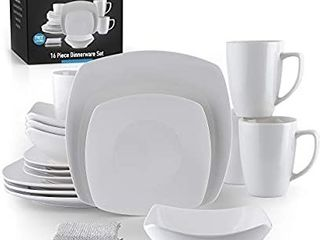 Zulay  16 Piece  Square Dinnerware Sets  Premium Quality Porcelain Plates Set   Dishes Set   Service For 4 Dishware Sets With 4 Plates  4 Side Plate  4 Soup Bowl  4 Square Mug   2 Silver Sponges