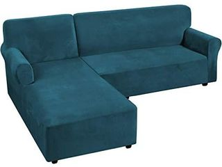 H VERSAIlTEX Thick Velvet Stretch l Shaped Sofa Cover 3 Seat Sofa Sectional Couch Cover