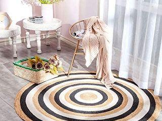 NIKKY HOME Jute Round Rug  Boho Style Handmade Indoor Stitching Woven Area Rug Braided Natural Fiber Floor Mat