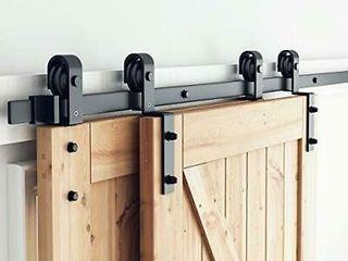 SMARTSTANDARD 5ft Bypass Sliding Barn Door Hardware Kit