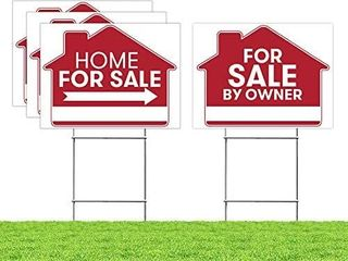 For Sale By Owner Sign   4 Premium Yard Signs Bulk Pack   18  x 24  Inches