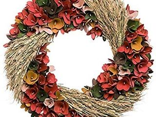 One Holiday Way Rustic Wheat Wood Curl Flower Harvest Wreath   Hanging Fall Decoration