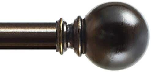 KAMANINA 1 Inch Curtain Rod 72 144 Inches  Round Finials  Bronze Drapery Rod