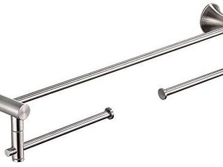 BESy 22 Inch Double Towel Bar with 2 Swivel Arms Towel Rack Rail for Bathroom SUS 304 Stainless Steel  Wall Mount with Screws  Brushed Nickel Finish