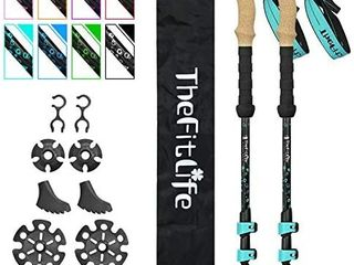 TheFitlife Carbon Fiber Trekking Poles a Collapsible and Telescopic Walking Sticks with Natural Cork Handle and Extended EVA Grips  Ultralight Nordic Hiking Poles for Backpacking Camping
