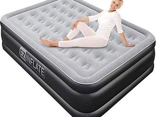 EZ INFlATE luxury Double High Queen air Mattress with Built in Pump  Queen Size  Inflatable Mattress for Home Camping Travel  luxury Blow up Bed