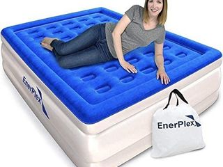 EnerPlex Dual Pump luxury Queen Size Air Mattress Airbed with Built in Pump Raised Double High Queen Blow Up Bed for Home Camping Travel