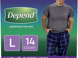 Depend Night Defense Incontinence Underwear for Men  Overnight  Size large  14 Count